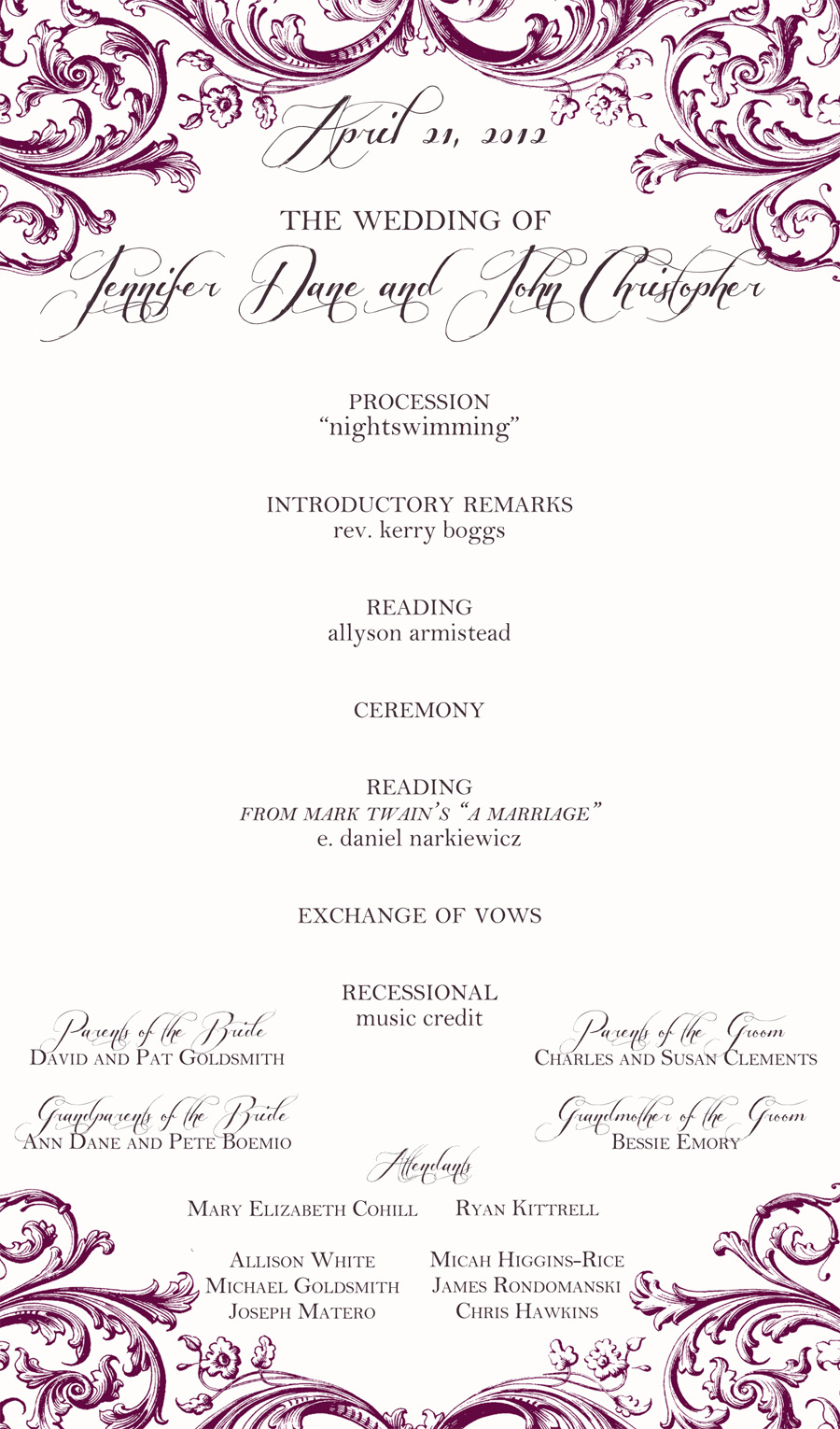 One Page Wedding Programs One page wedding program